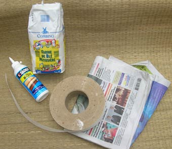 Flour, Wood glue, Skrim, local newspaper