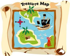 Pirate Map mural with scrolled edges