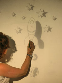 top tip paint a children s mural easily using an overhead. Black Bedroom Furniture Sets. Home Design Ideas