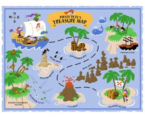 paint a pirate map off the wall