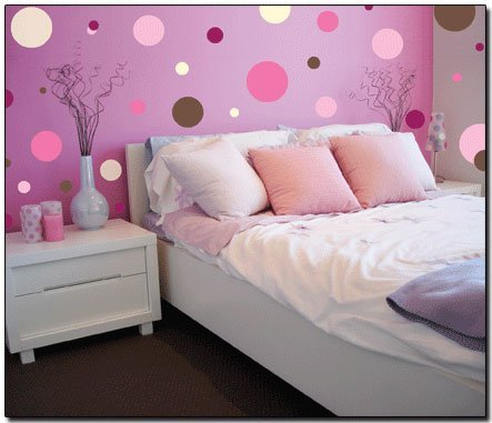 Polka Dot Wall Decals For Kids Rooms : pink-polka-room1