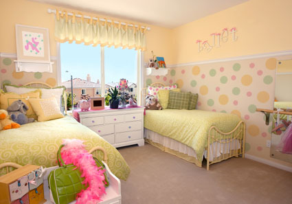 Polka dot decor for children s rooms off the wall for Polka dot bedroom designs