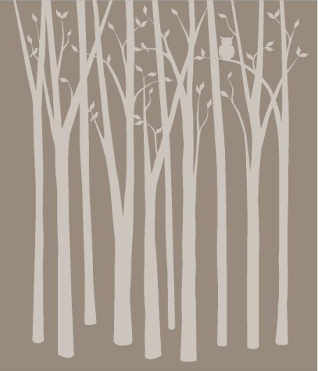 Birch tree silhouette wall mural