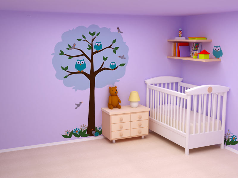 Baby room mural ideas on pinterest tree wall decals for Baby room tree mural