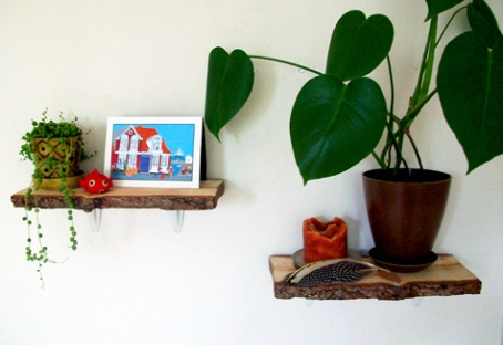 rustic log shelves you can make yourself