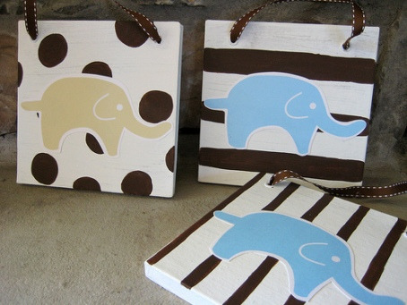 Create your own nursery wall art off the wall her nursery was being done in a cute elephant theme and her primary colors are brown and blue you could really use this idea to match any design or decor solutioingenieria Choice Image