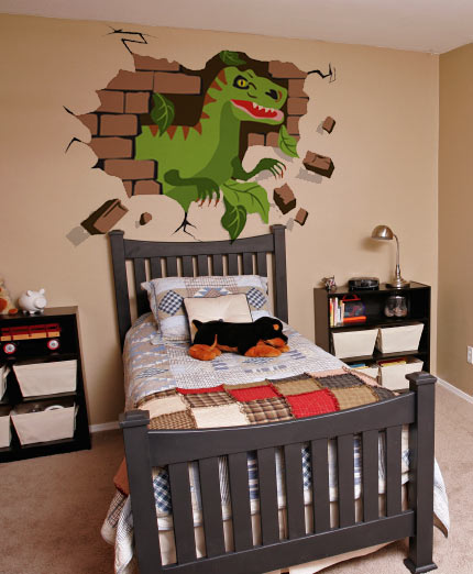 Diy Boy Bedroom Ideas Bedroom Wallpaper Designs Bedroom Sets Decorating Ideas Brown Black And White Bedroom: DIY Dinosaur Mural