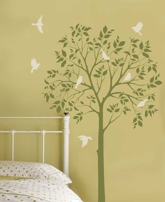 How to paint a tree mural off the wall for Paint templates for walls