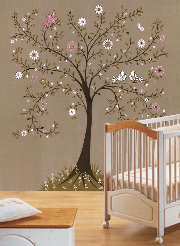 Tree stencils off the wall for Baby room mural ideas