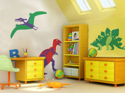 Take Your Simple Dinosaur Shape Make The Legs And Some Markings On Body A Second Colour Trace Onto Wall Paint